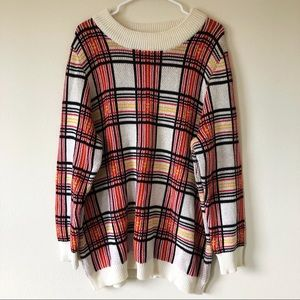 Vintage Red, Yellow and White Plaid Sweater